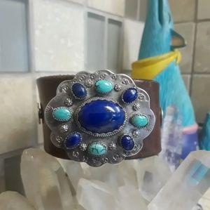 Vtg Sterling OOAK Leather Bracelet